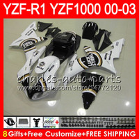 Wholesale yamaha r1 fairings white - 8Gift 23Color Body For YAMAHA YZF R1 YZF 1000 YZFR1 02 03 00 01 62HM16 YZF1000 white black R 1 YZF-R1000 YZF-R1 2002 2003 2000 2001 Fairing
