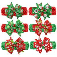 ingrosso modelli di fasce per bambini-Christmas Baby Childrens Fasce Cute Xmas Pattern Hairbands Arco annodato Fascia Fashion Colorful Santa Copricapo Indossando la fascia per capelli