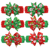 Wholesale santa animals online - Christmas Baby Childrens Headbands Cute Xmas Pattern Hairbands Knotted Bow Headband Fashion Colorful Santa Headdress Wearing Hair Band