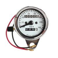 Wholesale motorcycle odometer speedometer tachometer - Universal Motorcycle Electronic Speedometer Moto Refit 1400RPM Analog Tachometer Gauge Dual Odometer w  Night Light