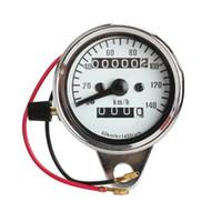 analoge gauge groihandel-Universal Motorrad Elektronischer Tacho Moto Refit 1400RPM Analog Tachometeranzeige Dual Kilometerzähler mit Nachtlicht