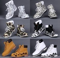 Wholesale Ankle Boots Booties - 2016 Winter New Outdoor Camo Waterproof Mens Martin Booties Cool Money Printed Genuine Leather Tooling Ankle Boots Work Shoes