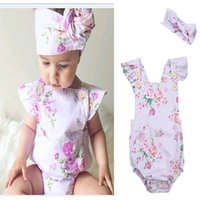 Wholesale Ruffles Strap Romper - INS hot 2017 Baby girl kids toddler Summer 2piece set outfits Rose floral Romper Onesies Strap Jumpsuits Lace Ruffles + Bow Headband