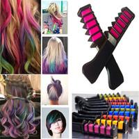 Wholesale Hair Chalks Sets - Mini Hair Color Comb Set 6 Colors Magic Hair Styling Brush Fashion Permanent Chalk Powder With Comb Temporary Hair Mascara