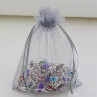 Chaud! 100pcs 15x20cm 10x15cm 30x40cm Sheer Drawstring Organza Jewelry Pouches Wedding Party Christmas Gift Gift Bags (gris argenté)