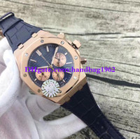 Wholesale Luxury Wrist Watch Strap Band - Luxury high quality 26331 Blue Dial 41mm 18K Rose Gold VK Quartz Chronograph Working Leather Strap Bands Wrist watch Mens Watch Watches