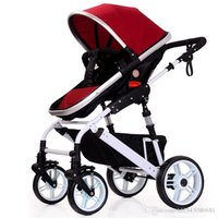 Wholesale Stroller Shock Absorbers - 10 Colors Sit and Lie Baby Stroller Folding Baby Carriage Good Shock Absorbers and High Chair 2 Pneumatic Wheel 2 EVA Wheel