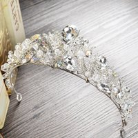 Wholesale Cheap Pageant Tiaras - Sparkling Silver Plated Rhinestones Wedding Crown 2017 Crystal Crowns Tiaras Cheap Pageant Crowns For Formal Occasion Bridal Accessories
