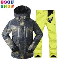 Venda por atacado- GSOU SNOW Brand Ski Suit Men Ski Jacket Calças Winter Mountain Skiing Suits Male Waterproof Snowboard Sets Outdoor Sport Vestuário