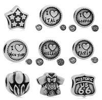 Wholesale I Love Paris - New Vintage Style Star I lOVE ITALY LONDON NEW YORK HOLLAND PARIS Big Hole Bead for DIY Making