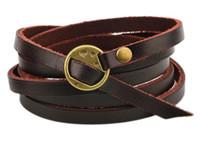 Wholesale white gold friendship bracelets - Brand New Multilayer Genuine Leather Wrap Bracelet Mens Women Wish Friendship Vintage Bracelets Bangles Men Jewelry pulseras hombre