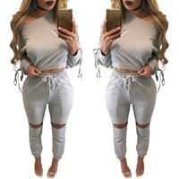 Wholesale Long Sleeve Cotton Sweat Shirts - 2017 New Arrival Womens Clothing Low Price Casual Wear spring style sweat shirt Print tracksuit women Long Pants Set Sports Suit Cotton Suit