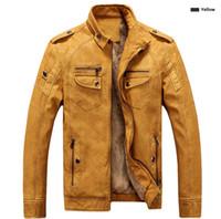 marcas de moda de cuero al por mayor-Primera marca de los hombres chaqueta de cuero de la manera del collar del soporte del ajustado de gruesa lana chaquetas de los hombres para el otoño invierno