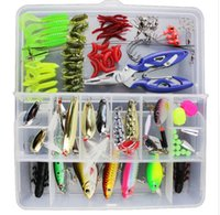 Wholesale fishing lures hooks resale online - Baits Fishing Lures Set Mixed Minnow Popper Fish Lure Box Spinner Spoon Cebo Grip Hook Isca Artificial Bait Kit Pesca