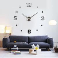 Wholesale Diy Resin Wall - Wholesale-Muhsein Fashion 3D Big Size Wall Clock Mirror Sticker DIY Brief Living Room Decor Meetting Room Wall Clock Diy Brand Wall Clocks