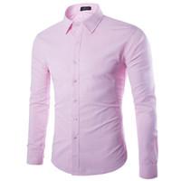 camisa ajustada rosa para hombre al por mayor-Al por mayor-marca rosa camisa hombres Chemise Homme moda diseño manga larga Slim Fit negocios para hombre camisas de vestir causales color sólido camisas para hombres