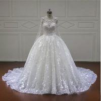 Wholesale Plus Size Ballgown Wedding Dress - Luxury Wedding Dress Scoop Collar Long Sleeve Illusion Applique Bead BallGown Custom Make Bridal Gown 2017