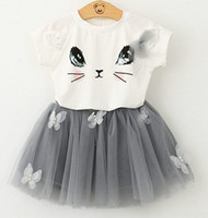 Wholesale T Shirt Yarn Wholesale - Summer Children Girls short sleeve suit cute cat T shirt + butterfly pompon yarn skirt Tutu Dress D7212