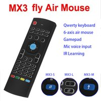 Wholesale Mic Sensor - Genuine Mx3 Wireless Keyboard With LED MIC Fly AirMouse Mini Wireless Remote G Sensing Gyroscope Sensor For MXQ M8S All Android TV BOX