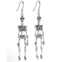 esqueleto zumbi venda por atacado-10 pares / lote brincos de esqueleto, Anatomia Ciência Zombie Geekery Cinza Matéria Jóias