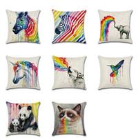 ingrosso zebra print throw pillows-Arcobaleno animale stampato cuscino fodera zebra uccello lupo stampato divano cuscino federa cuscino di lino cuscino quadrato copertura gratuita dhl xl-388