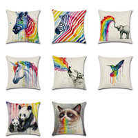 Rainbow Animal Printed Подушка Обложка Zebra Bird Wolf Печатный диван Throw Pillow Case Linen Cushion Square Pillow Cover Free DHL XL-388