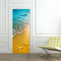 Wholesale starfish bedroom - 2Pcs set DIY 3D Door Stickers Sea Beach Starfish Door Mural for Living Room Door Home Decoration Accessories Large Wall Sticker