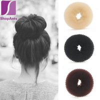 Wholesale hair donut ring - Wholesale- Hot Sale 1 Pieces Handmade Ring Hairbands Hair Care & Styling Tools Hair Clips Selectable Women's Girls Hair Donut Bun