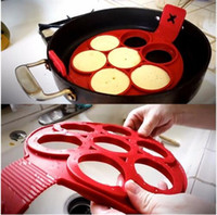 Wholesale Egg Biscuit - FLIPPIN Silicone Pancake Mold Pie Biscuits Egg Model Baking Cake High Temperature Seven Holes Red Round Pastry Tools