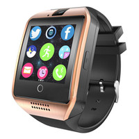 Wholesale Headset For Android Phone - Q18 SmartWatch Phone smart watches TF SIM Card Bluetooth Smart Wear Touch Watch NFC Camera Pedometer waterproof camera Free Headset