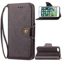 wachs iphone fall großhandel-2017 klassische Flip Brieftasche PU Ledertasche mit einem kickstand für Iphone 7 plus 6 s plus Matte TPU öl wachs Fall