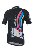 Wholesale Cycling Jersey Women Flower - 2017 Women's new Cat cartoon pink hello kitty cycling jersey summer short sleeve cycling shirt flower bike wear cool panther cycle clothing