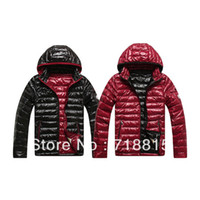 Wholesale Glossy Black Jacket - Wholesale- Free Shipping Fashionl White Duck Down Jacket Men's Casual Glossy Hooded Parkas Coat Black Red 2 Colors,M-XXL