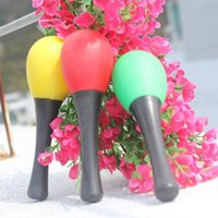 Wholesale Maracas Color - Wholesale- Funny Random Color Plastic Musical Maracas Kid's Newborn Baby Rattles Shaker Percussion Educational Toy