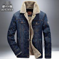Wholesale Winter Outwear Clothes Men - New Warm Denim Jackets Mens Jeans Jacket Coats Brand Clothing AFS JEEP Winter Thicken Denim Jacket Men Clothing Outwear