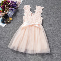 Wholesale Clothe Flowers - lace baby girl flower skirt kids clothes baby dress