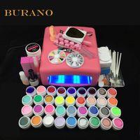 Wholesale Professional Uv Gel Manicure Kit - Wholesale- NEW 2016 professional gel polish 36 Colors UV Gel nail tools set nail kit manicure set 008# pink lamp