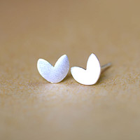 5 pares / lote Real Pure 925 Sterling Silver Tiny Matte Brushed Surface Heart Stud Earrings Mulheres Sterling Silver Jewelry
