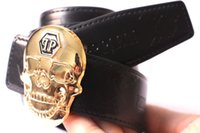 Wholesale Skull Head Alloy - 2017 Hot new fashion Skull head black color mens womens belts High quality belts designer genuine leather belt for men women belts for gift
