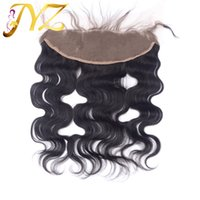 Wholesale Human Body Ears - Brazilian Body Wave Lace Frontal Closure Middle Free Three part 13*4 Virgin Human Hair Ear to Ear Lace Frontal Peruvian lace frontal