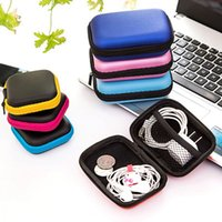 Wholesale Earphones Boxes - Freeshipping Storage Bag Case For Earphone EVA Headphone Case Container Cable Earbuds Storage Box Pouch Bag Holder(without earphone)