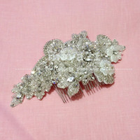Wholesale Clear Glass Floral Flowers - Couture Beaded Floral Comb Bridal Hair Accessories Intricacy Crystal Pearls Sliver Wedding Combs Bridal Hair Piece Flower Wedding Headpiece