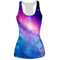 Wholesale Galaxy Women Top - Galaxy Space Women Tank Tops 3D Printed T Shirts Summer Sleeveless Harajuku Style Punk Camisoles Funny Cat Creative Vest 17310