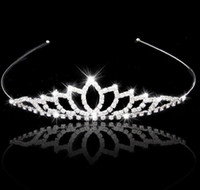 Wholesale Crowns Tiaras Women - Wedding Accessory Women Party Pageant Crystal Bridal Tiara Silver Plated Crown Hairband 2017