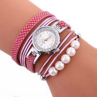 2017 Women Fashion Bead Line bretelles longues en cuir bracelet en corde bracelet Vente en gros New Casual Retro Ladies Dress Party Quartz Watch