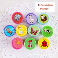 Wholesale Self Inking Stamps Kids - Wholesale- 6pcs Kids Animal Ladybird Horse Dog Elephant Butterfly Cartoon Stamp Children Custom Plastic Rubber Self Inking Stampers Toys