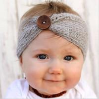 tığ işi saçak toptan satış-Mix 9 Renkler Bebek Yün Bantlar örme kapaklar kafa Çocuk Tığ Saç Yaylar Saç Kurdela Bandanalar Saç Aksesuarları
