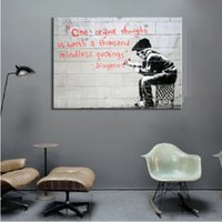 Wholesale original framed oil paintings resale online - Framed Pure Handpainted Graffiti Art oil painting One Original Thought Home Wall Art Decro On High Quality Thick Canvas Multi sizes