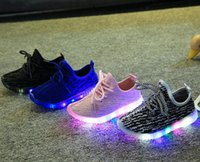 Wholesale toddler girl gray boots - New Fashion Child Spring Casual Shoes Flash LED Light Up Sneakers Cocount Luminous Glowing Boots Toddlers Boys Girls Sport Shoes