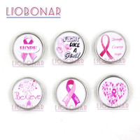 Wholesale Necklace Breast - New Arrival Wholesale Breast Cancer Snap Jewelry 18mm Cabochon Pink Ribbon Breast Cancer Awareness Buttons for Snap Bracelet Rings Necklace